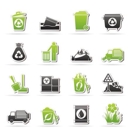 Müll und Abfall Symbole - Vektor-Icon-Set