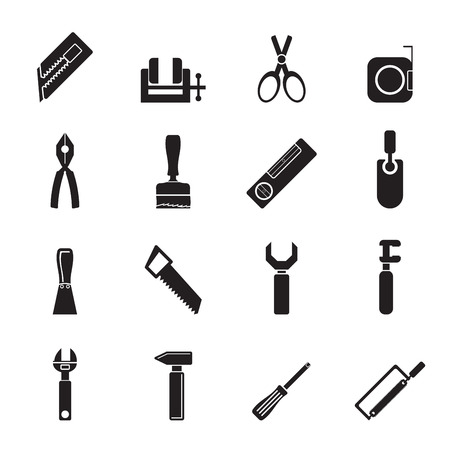 pliers: Silhouette Building and Construction Tools icons - Vector Icon Set