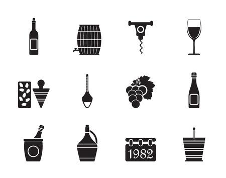 Silhouette Wine Icons - Vector Icon Set Illustration