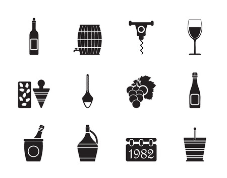 glass bottles: Silhouette Wine Icons - Vector Icon Set Illustration