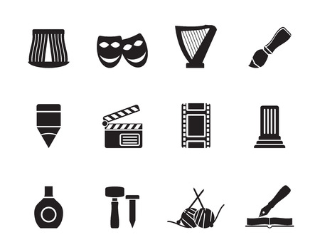 performing: Silhouette Different kind of art icons - vector icon set  Illustration