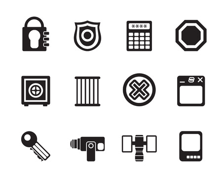 Silhouette Security and Business icons - vector icon set Vector