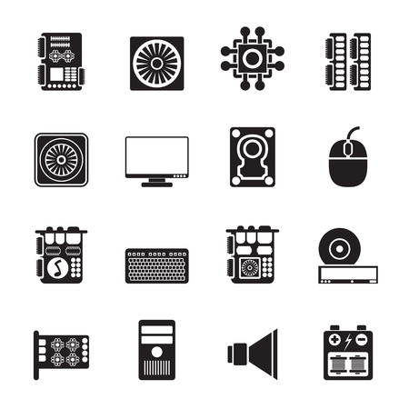 lan: Silhouette Computer  performance and equipment icons - vector icon set