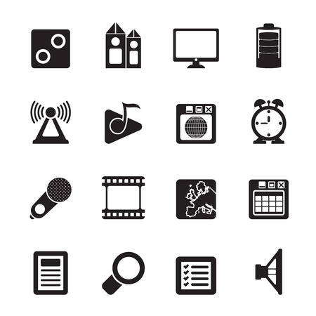 polyphony: Silhouette Mobile phone  performance, internet and office icons - vector icon set