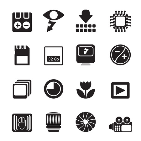 formats: Silhouette Digital Camera Performance - Vector Icon Set