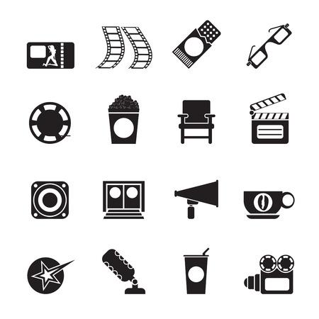 Silhouette Cinema and Movie - vector icon set  Vector