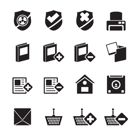 Silhouette Internet and Website buttons and icons -  Vector icon set  Vector