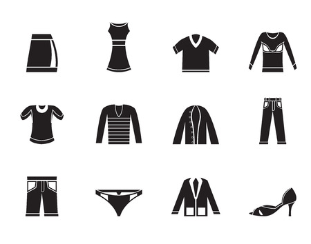 shorts t shirt sexy: Silhouette Clothing Icons - Vector Icon Set Illustration