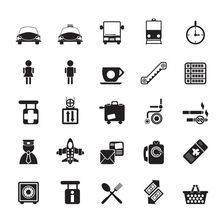 train ticket: Silhouette Airport, travel and transportation icons -  vector icon set Illustration