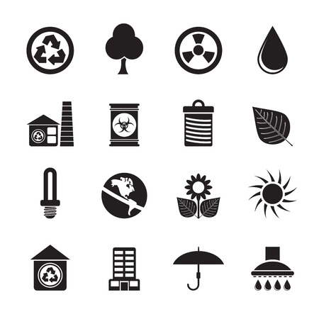 Silhouette Ecology and nature icons -vector icon set Vector