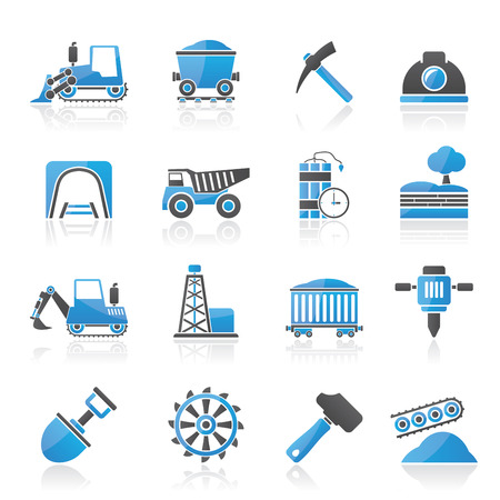 equipments: Mining and quarrying industry icons - vector icon set