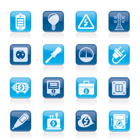 electricity pylon: Electricity,power and energy icons - vector icon set