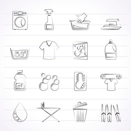 washing powder: Washing machine and laundry icons