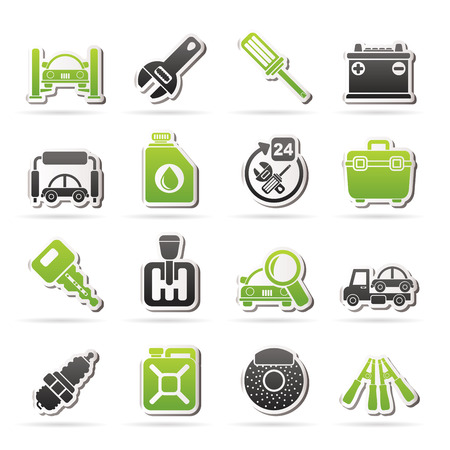 Car parts and services icons - vector icon set 1 Stock Vector - 25442192