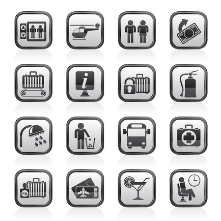 checkroom: Airport, travel and transportation icons -  vector icon set 2