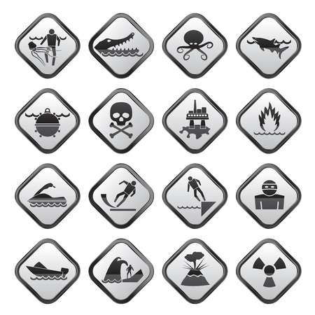 Warning Signs for dangers in sea, ocean, beach and rivers - vector icon set 1 Vector