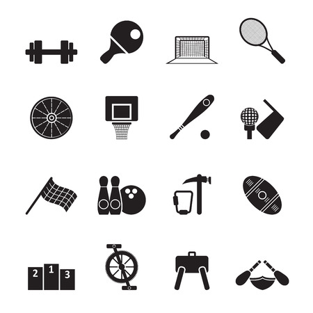 rugger: Silhouette Sports gear and tools - vector icon set