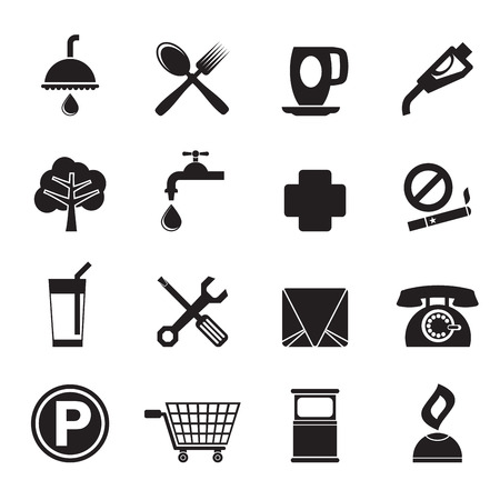 Silhouette Petrol Station and Travel icons - Vector Icon Set Vector