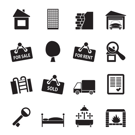 estate car: Silhouette Real Estate icons - Vector Icon Set Illustration