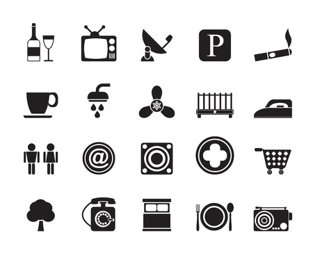 Silhouette Hotel and Motel objects icons - vector icon set Vector