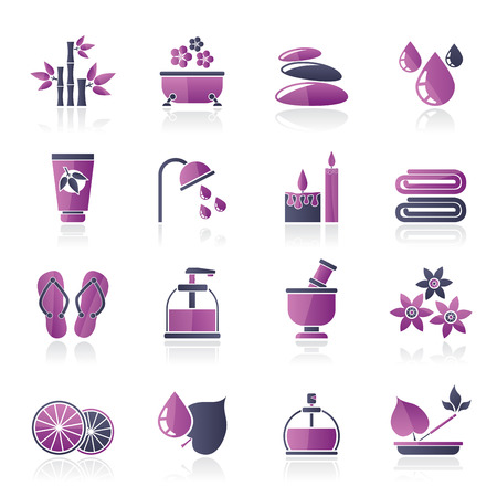 massage herbal: Spa and relax objects icons - vector icon set Illustration