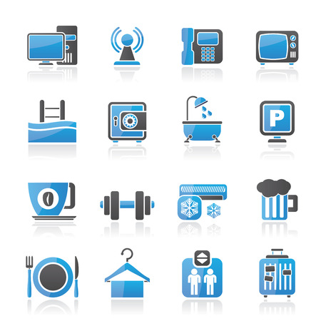 amenities: Hotel Amenities Services Icons - vector icon set