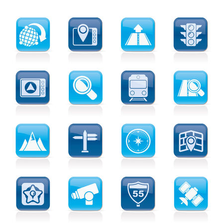 Map, navigation and Location Icons -vector icon set Vector
