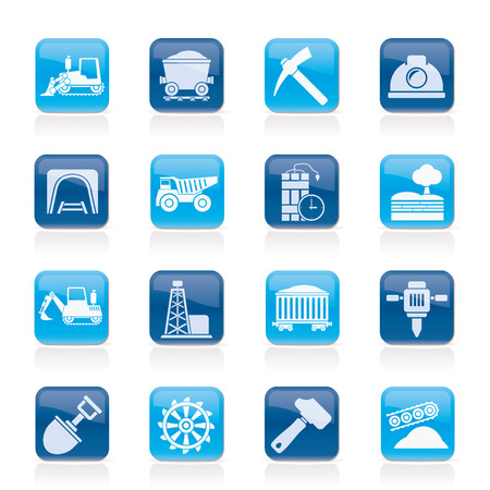 mine site: Mining and quarrying industry icons - vector icon set