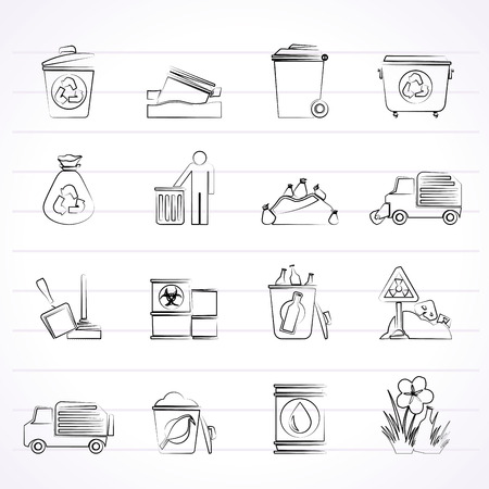 barrel radioactive waste: Garbage and rubbish icons - vector icon set Illustration