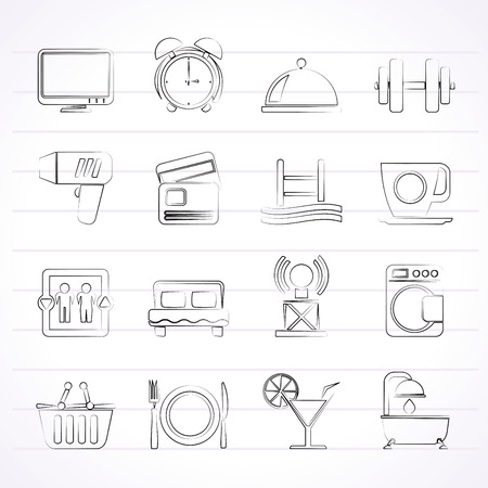 Hotel and Motel facilities icons - vector icon set Vector