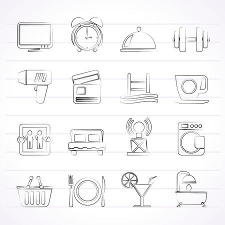 Hotel en Motel faciliteiten iconen - vector icon set
