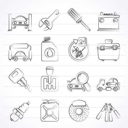 Car parts and services icons - vector icon set 1 Stock Vector - 25817032