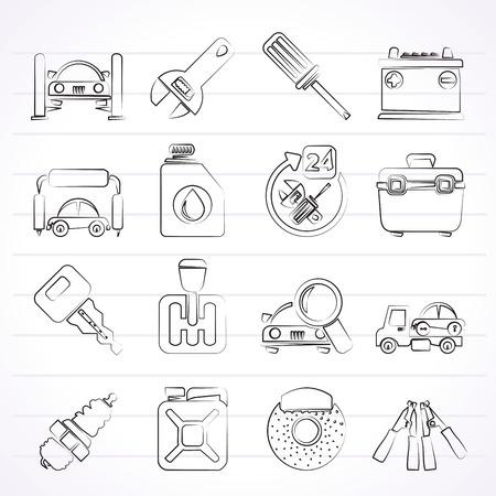 car parts: Piezas y servicios de coches iconos - conjunto de iconos vectoriales 1