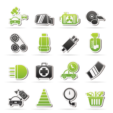 car exhaust: Car parts and services icons - vector icon set 3 Illustration
