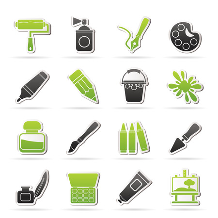 tempera: Painting and art object icons - vector icon set