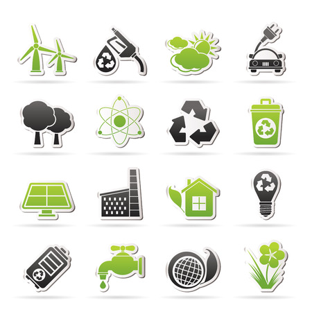 solar panel house: Ecology, environment and recycling icons - vector icon set