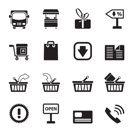 Silhouette Online shop icons - vector icon set Vector