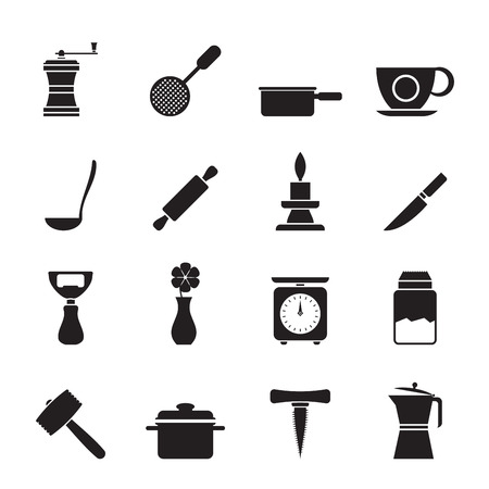 Silhouette Kitchen and household tools icons - vector icon set Vector