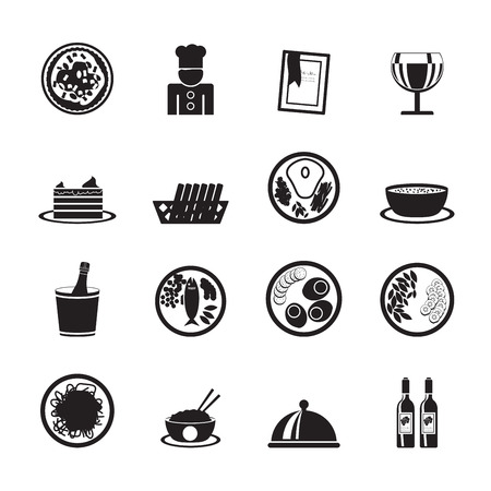 Silhouette Restaurant, food and drink icons - vector icon set Vector