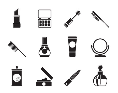 varnish: Silhouette beauty, cosmetic and make-up icons - vector icon set Illustration