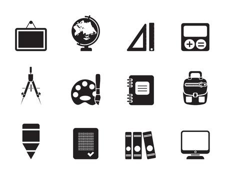 pallette: École silhouette et icônes de l'éducation - vecteur icône ensemble Illustration