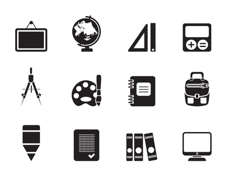 Silhouette School and education icons - vector icon set Vector