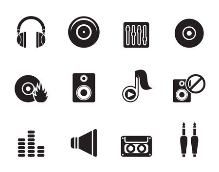 casette: Silhouette Music and sound icons -  Vector Icon Set