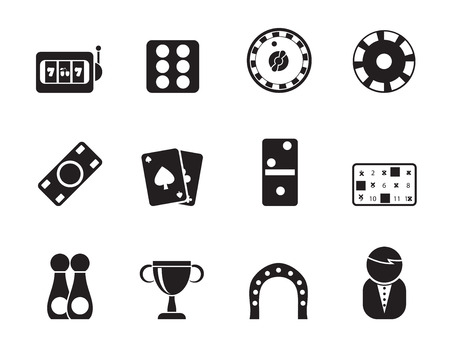 dominoes: Silhouette gambling and casino Icons - vector icon set Illustration