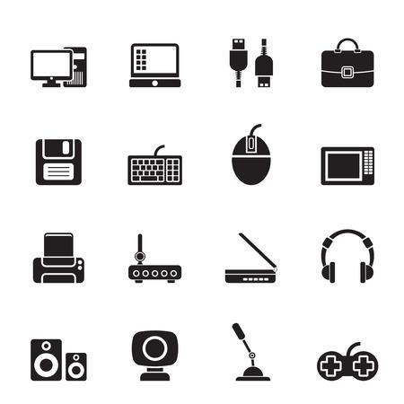 periferia: Apparecchiature Silhouette computer e periferia icone - vector icon set Vettoriali