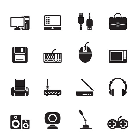 floppy: Silhouette Computer equipment and periphery icons - vector icon set Illustration