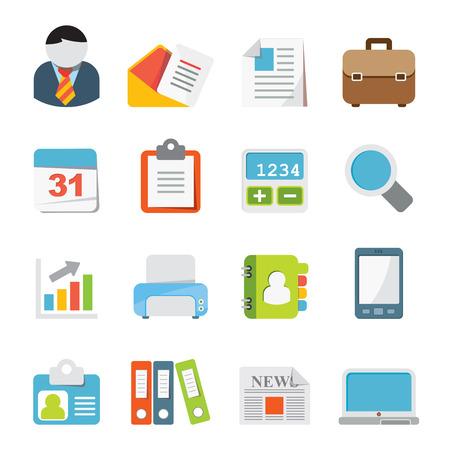 Zakelijk en kantoor iconen Stock Illustratie