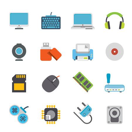 Periféricos y accesorios informáticos iconos Ilustración de vector