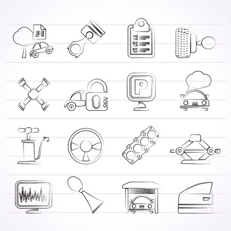 gasket: Car parts and services icons  Illustration