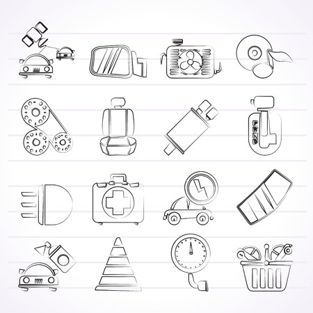 car exhaust: Car parts and services icons  Illustration